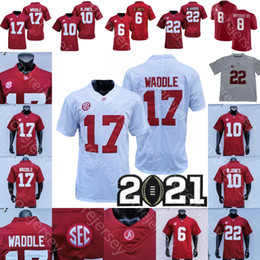 Camisetas de la universidad de alabama online-NCAA COLEGE 2021 Alabama Crimson Tide Fútbol Jersey Devonta Smith Jaylen Waddle John Metchie III Mac Jones Nejee Harris Rojo Blanco