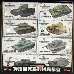 Modelli di guerra mondiale online-8pcs / set 1: 144 War II Assemblea 4D tigre T34 di caccia serbatoio Scena Sand Table Model World of Tanks Collection