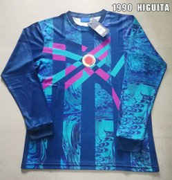 2021 futbol colombia 1990 Retro Fútbol Jersey Portero Manga Larga Old Rene Higuita Colombia Portaje Camisa de Fútbol Columbia Vintage Football Collection1 rebajas futbol colombia