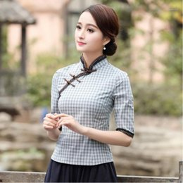 Coco jacke online-Sheng Coco Bluse Vintage QIPAO Hemd Chinesischen Stil Top Nation Windspitze Langarm Gitter Cheongsam Jacke Camisa China Mujer1
