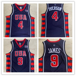 Camisetas de baloncesto olímpico online-2004 Olympic Team Dream 6 USA Allen Iverson 4 Retro Basketball Jersey LeBron Vintage James Jersey 9 Mens Steins NCAA Jerseys