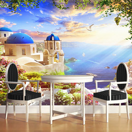 сказочные обои Скидка European Style Sea View Castle Fairy Tale World Mural Wallpaper For Kids Room Living Room Backdrop Wall Home Decor Wallpaper 3 D