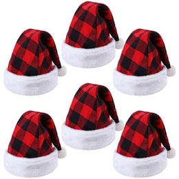 Cosplay plaid online-Plaid Christmas Hats Adult Santa Claus Hat Xmas Cosplay Costume Red Black Plaid Pattern Santa Hat Party Hats Christmas Decoration GGA3776