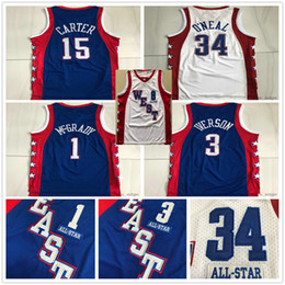 Camisas de basquete estrela on-line-Authentic Stitched 2004 All-Star Tracy 1 McGrady Vince 15 Carter Mitchell Ness Hardwoods Allen 3 Iverson Swingman Basketball Jerseys