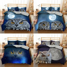 2020 letti king size del gufo Bella Owl copripiumino Night Sky Bedding Set per adulti Biancheria 2 / 3pcs Regina King Double standard Dimensione Letto Set letti king size del gufo economici