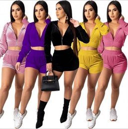 Velours trainingsanzug shorts online-Autumn Anzug Frauen Zip Up Velour Hoodies Langarm Crop Top Sweatshirt und High Waist Shorts Zwei Stück Outfits Start Wear