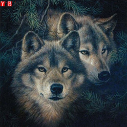 ricami di disegni Sconti NEW DIY 5D Diamond Painting Cross Stitch animal two wolf Drawings Pictures of Crystals Whole Square Diamond Embroidery Mosai XY1