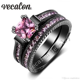 Anello nero nozze d'oro diamante rosa online-Vecalon Vintage Wedding Band Ring Set per le donne zaffiro rosa diamante simulato Cz 14KT Black Gold Filled Female Engagement ring981