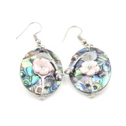 Jewelry earrings For Women ER860 4 Pairs Natural Tiny abalone shell Earrings,Paved Rhinestone Crystal Charm Dangle earrings