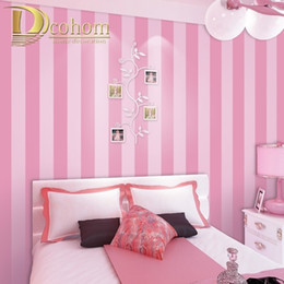 Papel de pared a rayas rosa online-Fondo de pantalla de rayas azules rosadas para niños Baby Girls Boys Boys Dormitorio Decoración Wallpapers TV Teleo Papeles de pared Rollo 201009