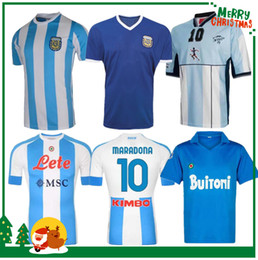 camisa boca Rebajas 1978 1986 Argentina Maradona Home Soccer Jersey Retro 93 94 Newells Old Boys 1981 Boca Juniors 87 88 Naples Napoli Football Shirt
