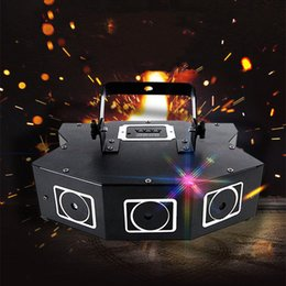 led disco scheinwerfer Rabatt DMX512 LED Stage Laser Lighting Sound Activated 3 Holes RGB Laser Spotlight Disco Rotating Strobe Light for KTV Bar Party