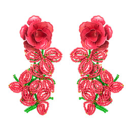 grandi orecchini di fiori Sconti Nuovo Brand Designer Goccia Orecchini di Goccia Gioielli Personalità Deep Pink Flower Beads Tassel Big Dichiarazione Fashion Party Donne Dangles Earring Regali