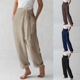 2020 alta cintura negro pantalones de pierna ancha Casual Cotton Linen Women High Waist Wide Leg Pants Spring Summer Office Band Loose Palazzo Trousers Female Black Gray Pants alta cintura negro pantalones de pierna ancha baratos