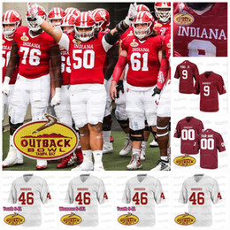 Große flecken online-Indiana Hoosiers 2021 Big Ten Patch Outback Bowl Michael Penix Jr. Stevie Scott III Ty Frybogle Micah McFadden NCAA College Foortball Jersey