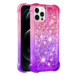 Casi di glitter liquidi di iphone online-Liquid QuickSand Glitter Casi graduali per iPhone 12 11 XR XS MAX 7 8 PLUS Cover Anti-Drop