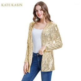Veste scintillante en Ligne-Kate Kasin Femmes Sparkle Sparkle Patter Jacket Stunning Open Open Cardigan à manches longues Cardigan Outwear Fashion Sequins Streetwear KC0000751
