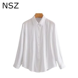 2021 shirts di affari del cotone donne NSZ Donne Donne Oversize Cotton Bianco Blusa Blusa Pulsante Up Office Shirt Ladies Basic Top Lavoro Business Smock Camisas Mujer Blusa Feminina