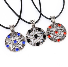 collier winchester Promotion New Woman Men Retro Necklace Pentagram Pentacle Five-Pointed Star Wicca Pagan Dean Winchester Pendant Gothic Jewelry1