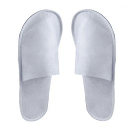 Zapatillas de spa online-Men Women Closed Toe Sanitary Hotel Use Party Disposable Slipper Bathroom Travel Guest Fluffy Spa Non Slip Home 10 Pairs1