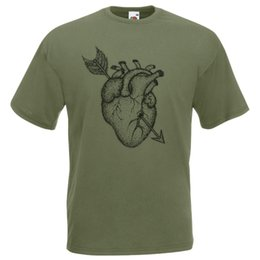 sudadera con capucha verde oliva para hombre  Rebajas Summer Tee Shirt Mens Olive Green Dotwork Heart Tattoo Art T-Shirt Guys Arrow Dot Work Tshirt O-Neck T-shirt sport Hooded Sweatshirt Hoodie