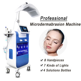 Macchina idroelettrica dell'acqua online-8in1 Vacuum Hydro Dermabrasion Face Cleansing Water Oxygen Jet Peel Machine Pore Cleaner Hydrafracial Hydra Facial Machine PDT LED 7 Colore