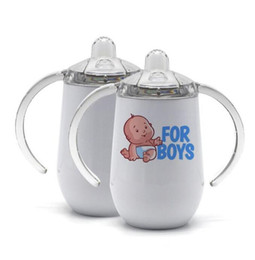 garrafas de aço inoxidável Desconto Blank Sublimation Tumblers Stainless Steel Baby Feeding Bottle with Nipple Handle 10oz Heat Transfer Sippy Cups Sea Shipping KKB2840