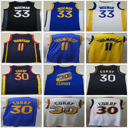 Stephen curry weiß blau online-NCAA College 2021 New Stephen 30 Curry Jersey Klay 11 Thompson Blue White Black Yellow Wholesale Cheap #33 Wiseman Mens Basketball Jerseys