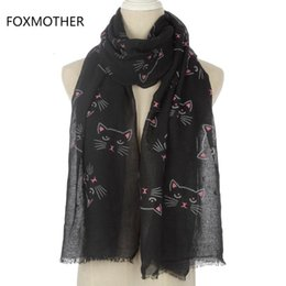 Lenço de gato preto on-line-Black Cat Bege Cinzento FOXMOTHER New Ladies bonito Imprimir Moda Longa Scarf Para Womens