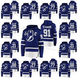 Laço hoodie on-line-2020 Stanley Cup Champs Tampa Bay Lightning Lace Up pulôver camisas personalizadas Stamkos 21 Ponto Palat Hedman Kucherov Womens Juventude Mens
