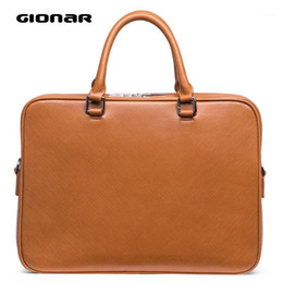 2021 borsa slim portatile GIONAR Mens Breve Case Messenger Bag Slim Real Leather 15 pollici Laptop Business Briefcase Borsa Tablet Black Brown Grey Blue1 borsa slim portatile economici