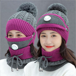 woll-radkappe Rabatt Frauen Warme Wolle Mützen Skullies Hüte mit Masken-Kragen-3pcs / Set Strickmützen Winter Outdoor Radfahren Hut Female Cap DDA790