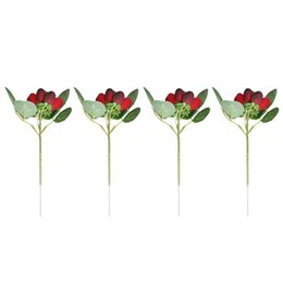2021 plantas de fresa artificial 6 PCS Planta Decoración Flor Planta Artificial Paddle Fresa Fotos Props Artificial Plantas Decoración Cesta Florero
