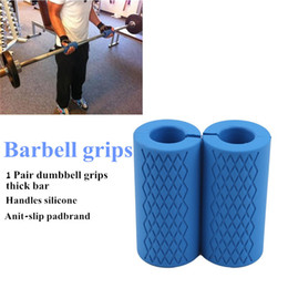 barbell imbottito Sconti 1 paio Barbell Grips Dumbbell Grips Thick Bar Maniglie in silicone Anti-slip Pad Spessore a barre a barre Pull Up Pisentlifting Grasso Grip Q0107