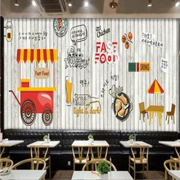carta da parati murale coreana Sconti Dropship Photo Wallpaper Europe Fashion Wood Murale Coreano Fritto Chicker Shop Fast Restaurant Sfondo sfondo Sfondo