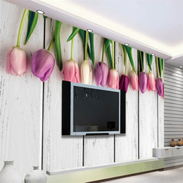 2021 papel de parede tulipa beibehang 3D wallpaper for walls 3 d White Wood Tulip Background Art Mural wallpaper for Living Room Home Decor flooring