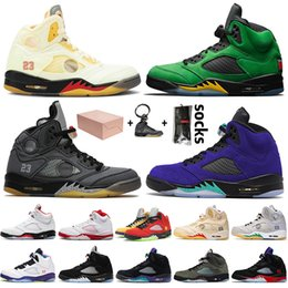 Dessus blanc cassé en Ligne-nike air jordan 5 off white retro 5 5s jumpman stock x Chaussures de basket-ball pour hommes Mousse rose What the Alternate Grape 5s Oregon Fire Red formateurs baskets