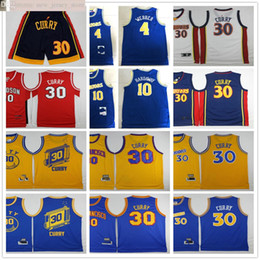 Stephen curry bianco blu online-Retro annata di pallacanestro Stephen Curry 30 maglie Chris cucita 4 Webber Blu 10 Hardaway maglie migliore qualità Uomo Bianco Rosso