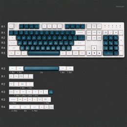 Abs 139 online-DIY 139 Keys ABS Green Blanco KeyCaps para Cherry Mx Switch Mechanical Game Teckeboard Decoration Reemplazar KeyCaps1
