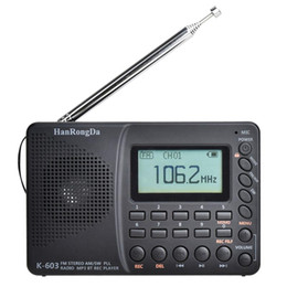 2021 registratore di ricezione radio professionale Mini HRD-603 Portable radio AM / FM / SW / BF Pocket Radio USB MP3 Recorder BluetoothGood ricevitore audio digitale