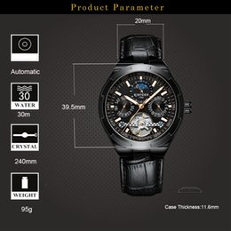 KINYUED Classic Mens Watches Automatic Mechanical Watch Tourbillon Clo Genuine Leather Waterproof Military Retro Wristwatch