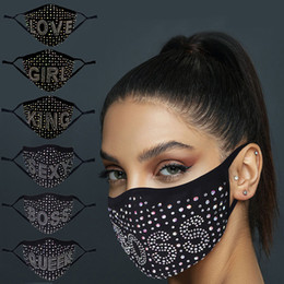 Maschera viso delle ragazze sexy online-Diamond Face Mask Bling Print Print Boss Queen Black Rhinestone Colourful Masks Donne Girls Party Lavabile Sexy Sex Sex Fashion Party Party Smaschetta in magazzino