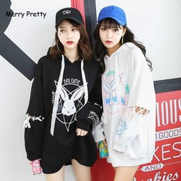 Trainingsanzug kaninchen online-Merry hübsch Harajuku Nette Lolita Frauen Sweatshirt Kaninchen Pentacle Print Lace Up Hoodies Lose Trainingsanzug Pullover Weibliche 201106