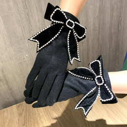 2021 cachemir sin dedos guantes mujeres 2020 Guantes Mujeres CashMere Touch Screen Screen Gloves Winter Warm Big Ribbon Bow Pensador Female Mits Mittens Guantes