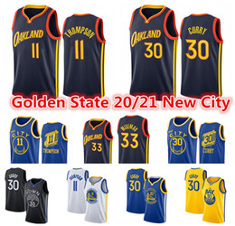 Staatliche krieger online-Herren Stephen 30 Curry Jersey Klay 11 Thompson 33 James Wiseman Golden