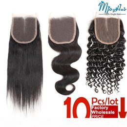 Brasileiros extensão do cabelo preços polegadas on-line-Brazilian Straight Body Deep Wave Lace Closure Hair Extensions 8-20 Inch 10Pcs Lot Factory Wholesale Price 4x4 Swiss Lace Frontal