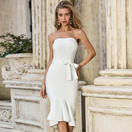 cintura donna celebrità Sconti ADYCE 2020 Nuove Donne Summer White Tromba Bandage Dress Sexy Belt senza spalline BodyCon Celebrity Puntone Club Party Dress Vestidos