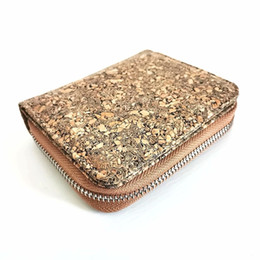 Carteras ecologicas online-Cavabien Eco Friendly Leather Alternative Cork Cork Wallet para hombres Ventana de identificación de monedero con cremallera C1223