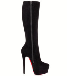 Alti scarponi invernali sexy online-Inverno Elegante signora Bianca Botta Boots Donne Red Bottom Botties Stiletto Tacchi Top Quality Alto Stivale Alto Sexy Party Dress Ginocchio Bottino EU35-43