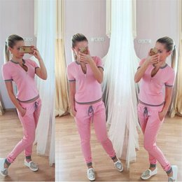Traje de jogging moda mujer rosa online-Fashion Pink Summer Women 2 piece set Tracksuits Women Suit T shirt With Pants Jogging Tracksuits fz3295